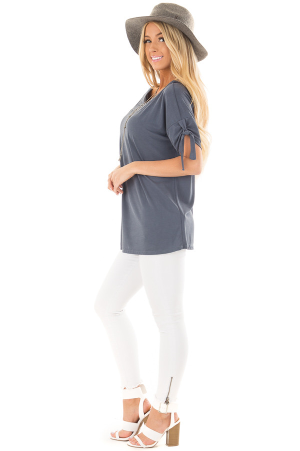 Faded Navy Boat Neck Top with Sleeve Tie Detail side full body