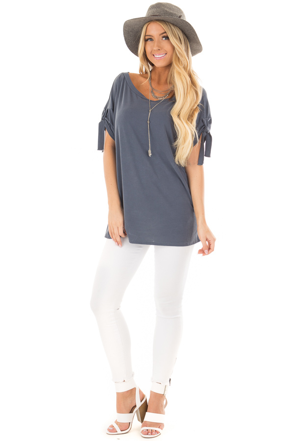Faded Navy Boat Neck Top with Sleeve Tie Detail front full body