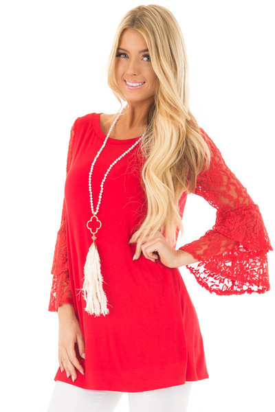 Lipstick Red Tunic with Sheer Lace Bell Sleeves front close up
