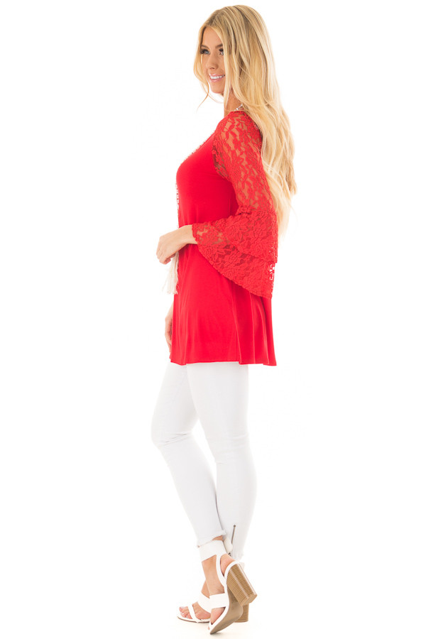 Lipstick Red Tunic with Sheer Lace Bell Sleeves side full body