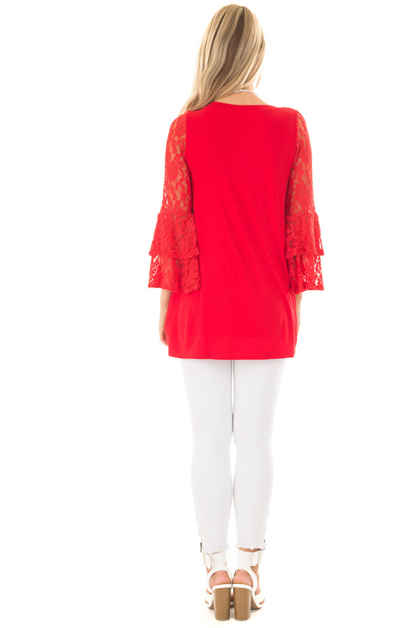 Lipstick Red Tunic with Sheer Lace Bell Sleeves back full body