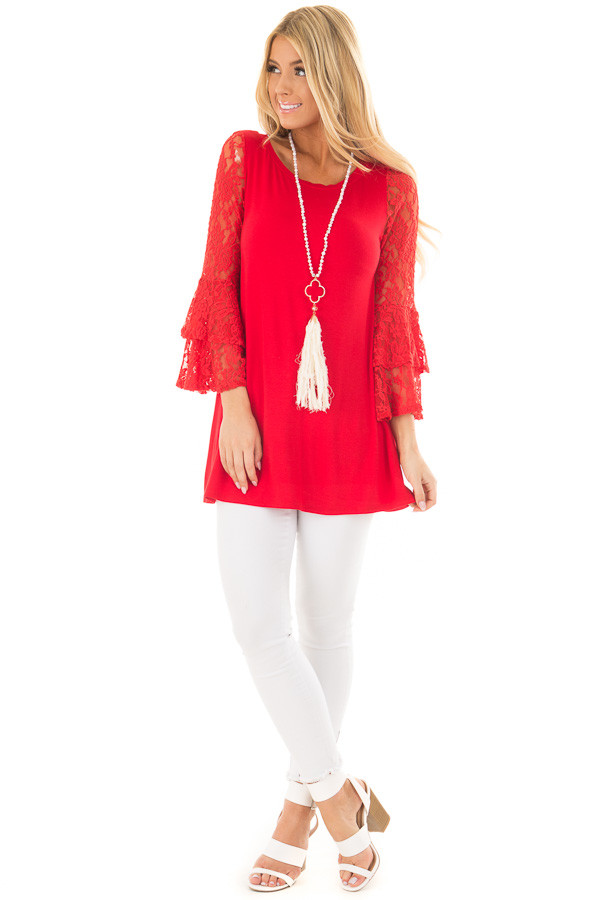 Lipstick Red Tunic with Sheer Lace Bell Sleeves front full body