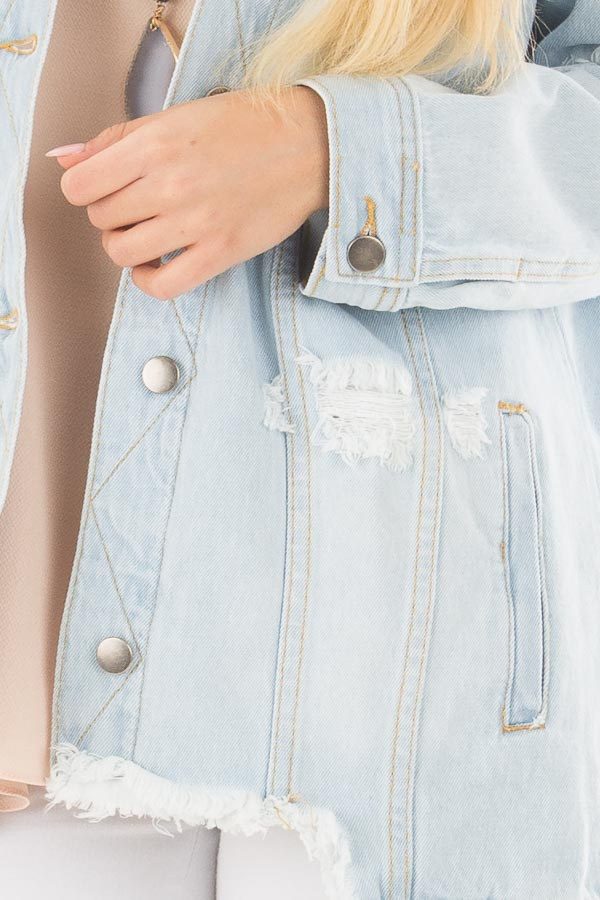 Light Denim Distressed Button Up Jacket detail