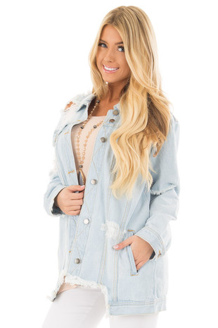 Light Denim Distressed Button Up Jacket front close up