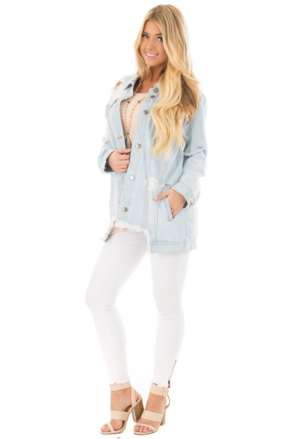 Light Denim Distressed Button Up Jacket front full body