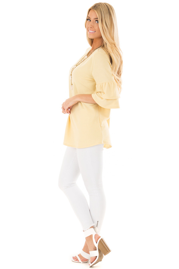 Lemon Yellow Tiered Bell Sleeve Top side full body