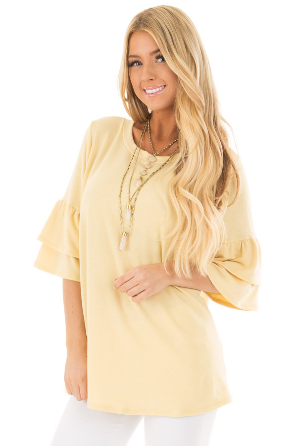 Lemon Yellow Tiered Bell Sleeve Top front close up