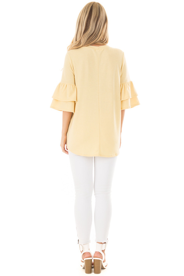 Lemon Yellow Tiered Bell Sleeve Top back full body