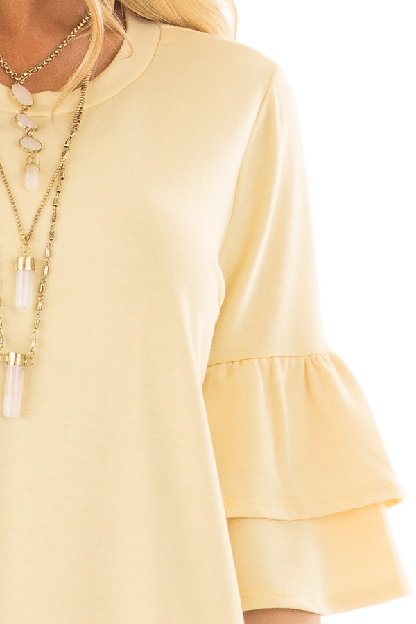 Lemon Yellow Tiered Bell Sleeve Top detail