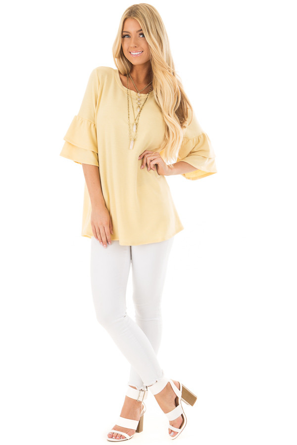 Lemon Yellow Tiered Bell Sleeve Top front full body