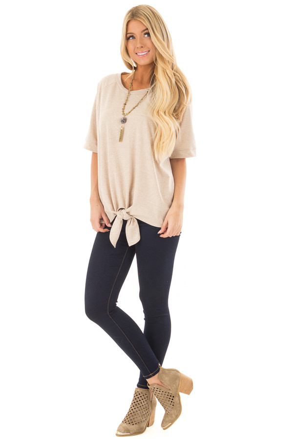 Taupe Short Sleeve Top with Front Tie Detail front full body