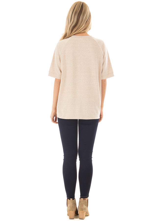 Taupe Short Sleeve Top with Front Tie Detail back full body