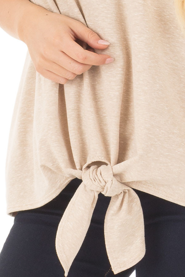 Taupe Short Sleeve Top with Front Tie Detail detail