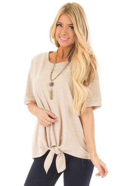 Taupe Short Sleeve Top with Front Tie Detail front close up