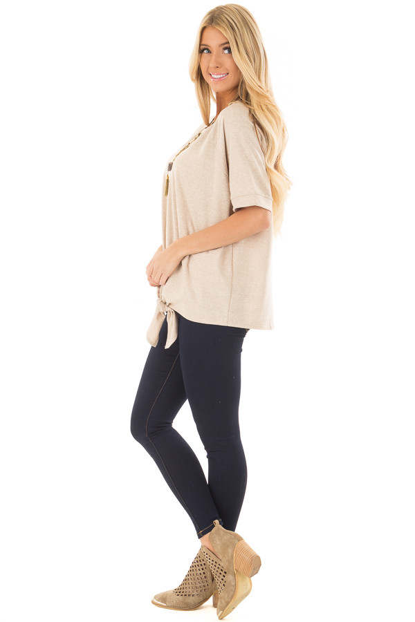 Taupe Short Sleeve Top with Front Tie Detail side full body