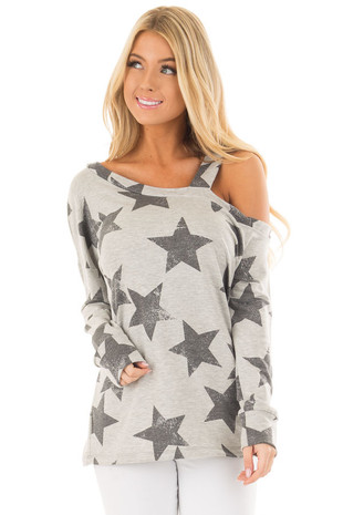 Heather Grey Star Pattern Cold Shoulder Top front close up