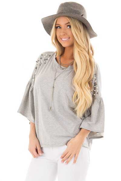 Heather Grey Bell Sleeve Top with Beaded Detail front close up