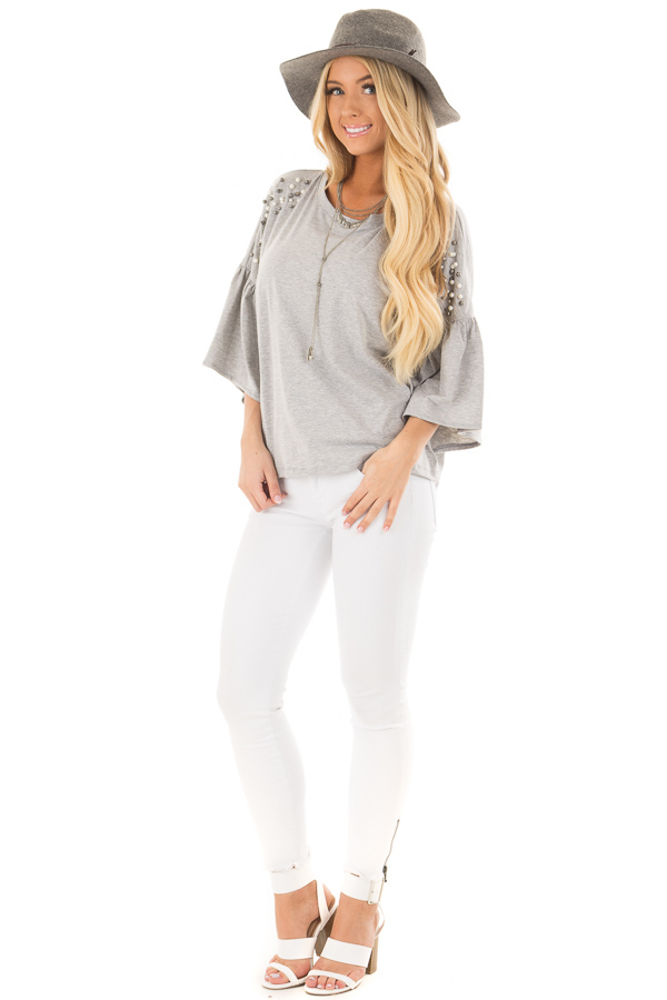 Heather Grey Bell Sleeve Top with Beaded Detail front full body
