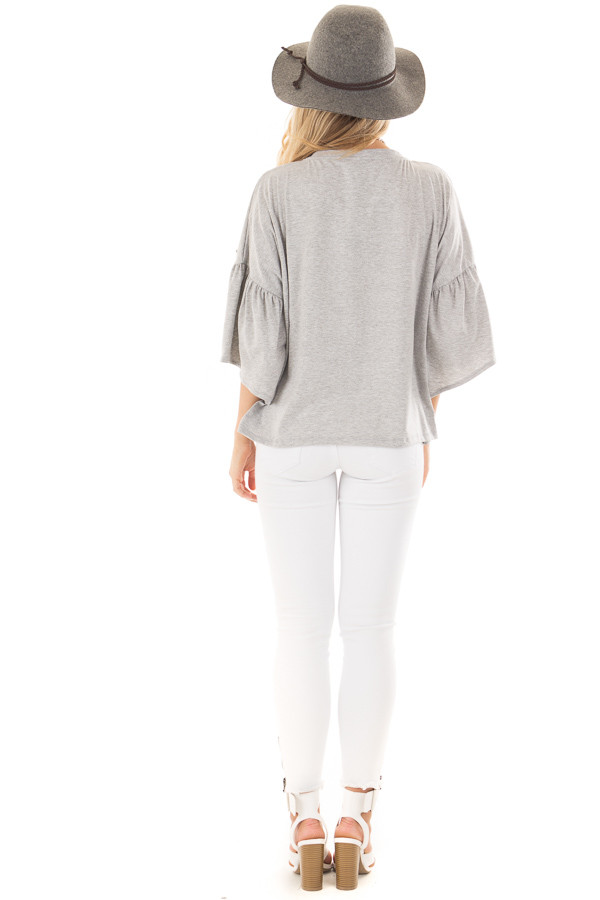 Heather Grey Bell Sleeve Top with Beaded Detail back full body
