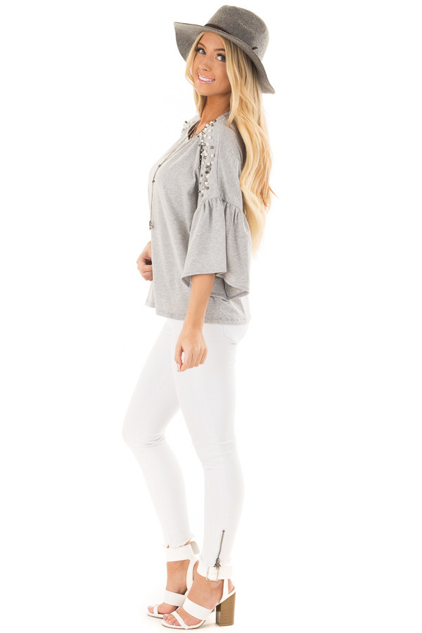 Heather Grey Bell Sleeve Top with Beaded Detail side full body