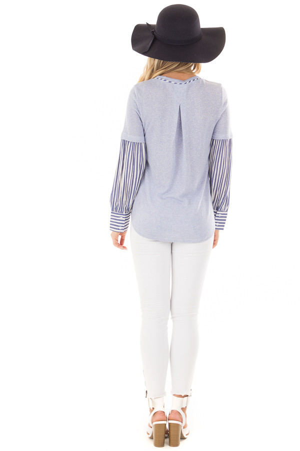 Light Blue Knit Top with Striped Woven Contrast back full body