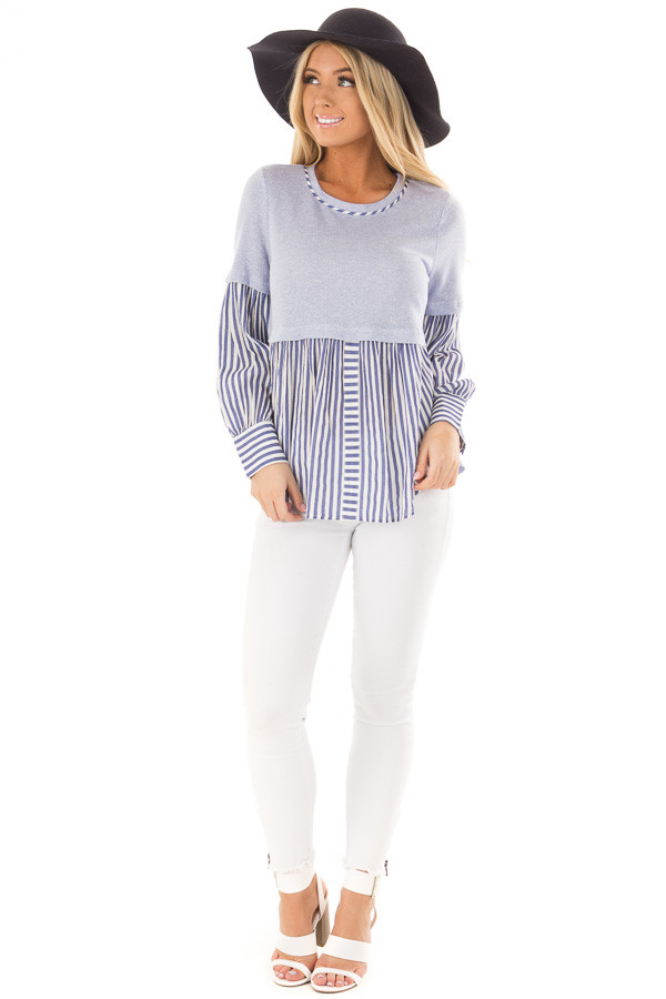 Light Blue Knit Top with Striped Woven Contrast front full body