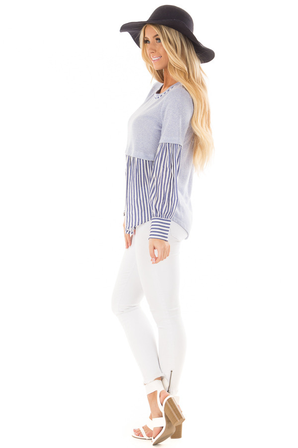 Light Blue Knit Top with Striped Woven Contrast side full body