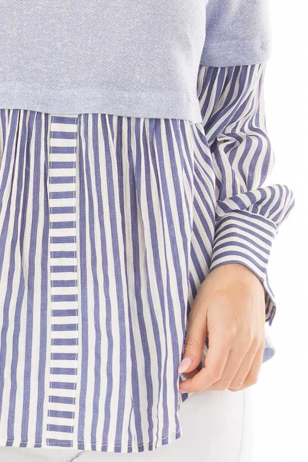 Light Blue Knit Top with Striped Woven Contrast detail