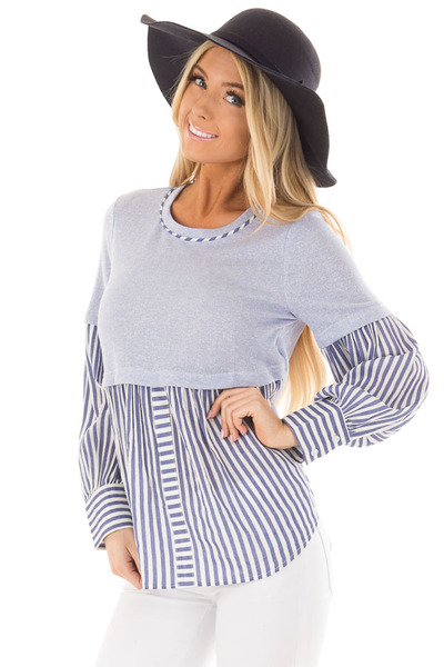 Light Blue Knit Top with Striped Woven Contrast front close up