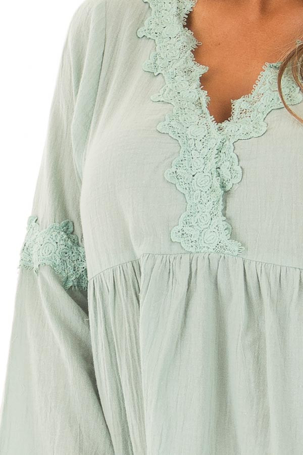 Blue Sage Bell Sleeve Top with Crochet Lace Details detail