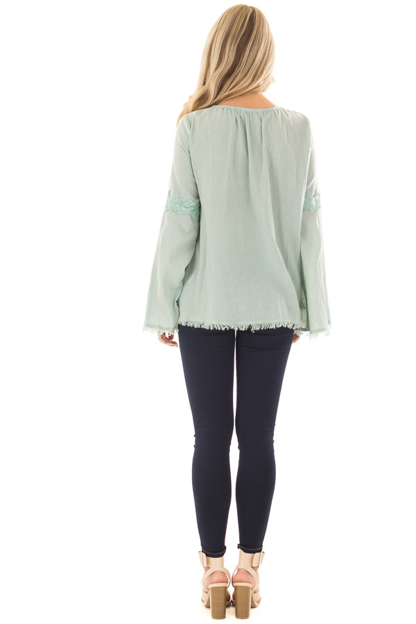 Blue Sage Bell Sleeve Top with Crochet Lace Details back full body