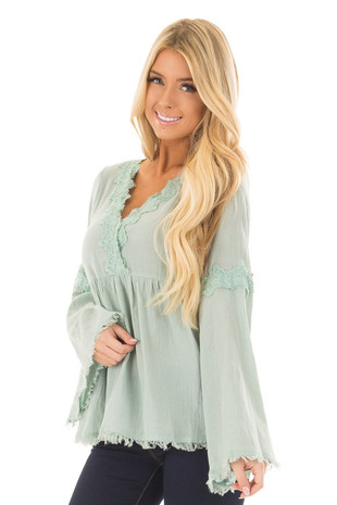 Blue Sage Bell Sleeve Top with Crochet Lace Details front close up
