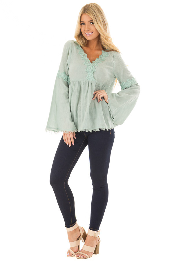 Blue Sage Bell Sleeve Top with Crochet Lace Details front full body