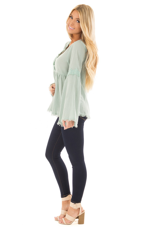 Blue Sage Bell Sleeve Top with Crochet Lace Details side full body