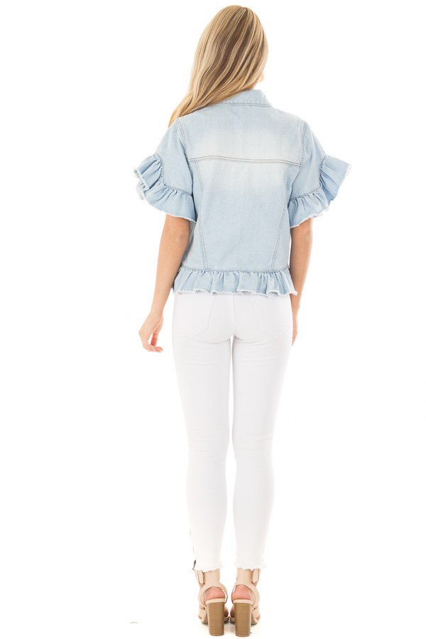 Light Wash Denim Jacket with Ruffle Detail back full body