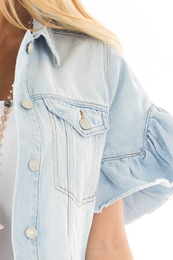 Light Wash Denim Jacket with Ruffle Detail detail
