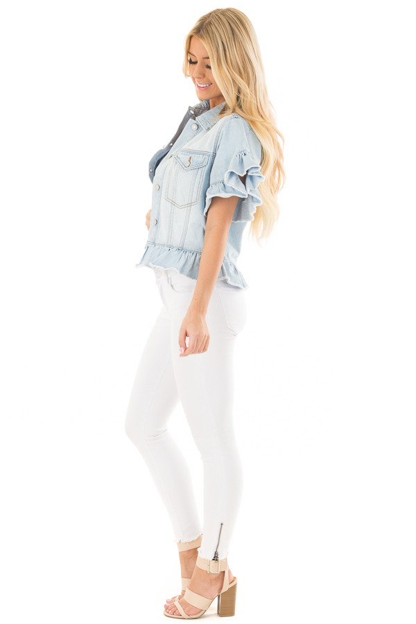 Light Wash Denim Jacket with Ruffle Detail side full body