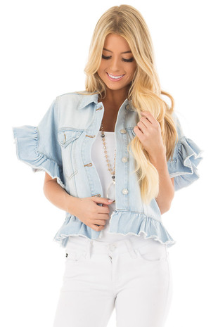 Light Wash Denim Jacket with Ruffle Detail front close up