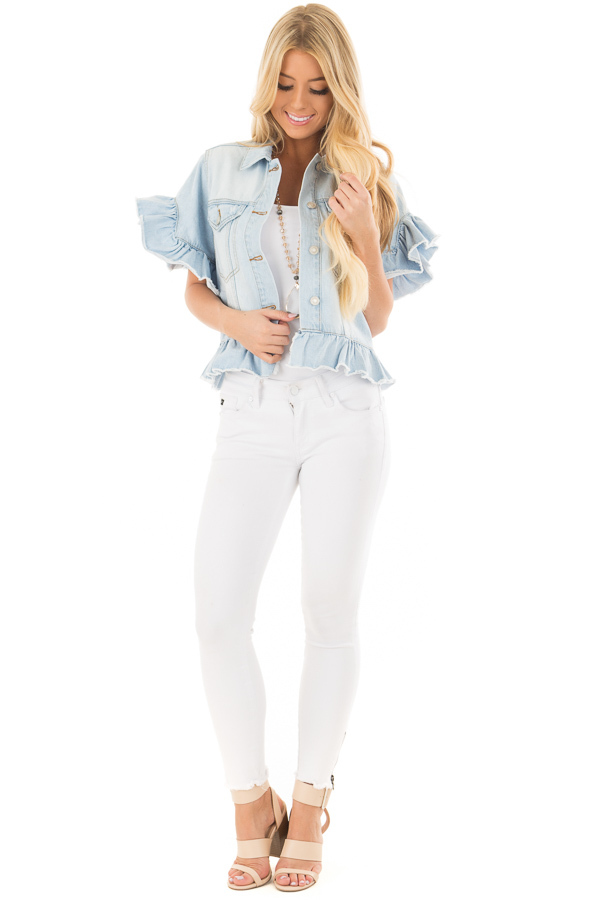 Light Wash Denim Jacket with Ruffle Detail front full body