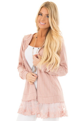 Dusty Blush Zip Up Hoodie with Lace Hemline front close up