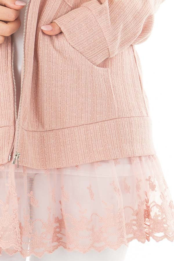 Dusty Blush Zip Up Hoodie with Lace Hemline detail