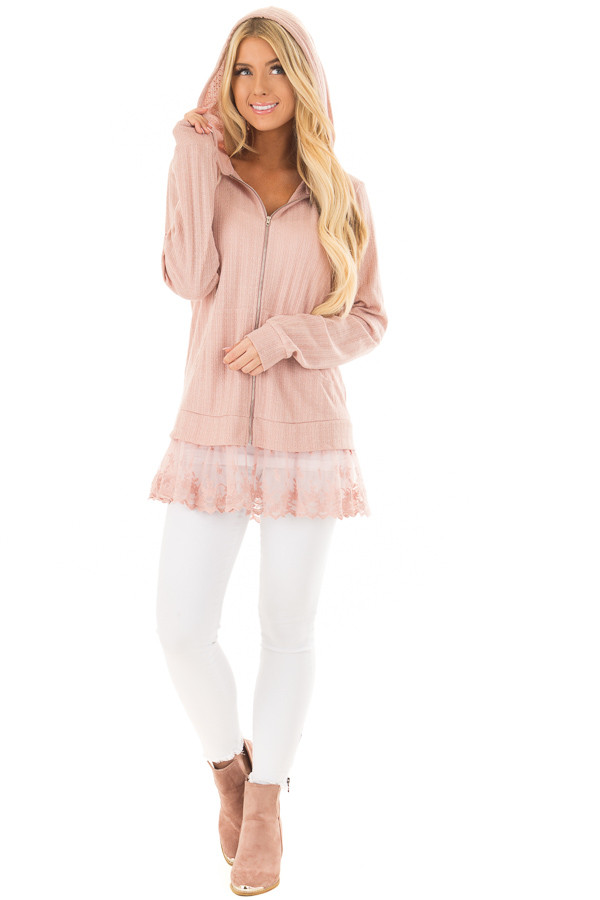 Dusty Blush Zip Up Hoodie with Lace Hemline front full body