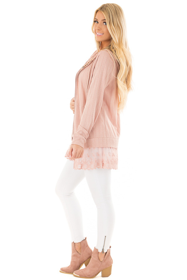 Dusty Blush Zip Up Hoodie with Lace Hemline side full body