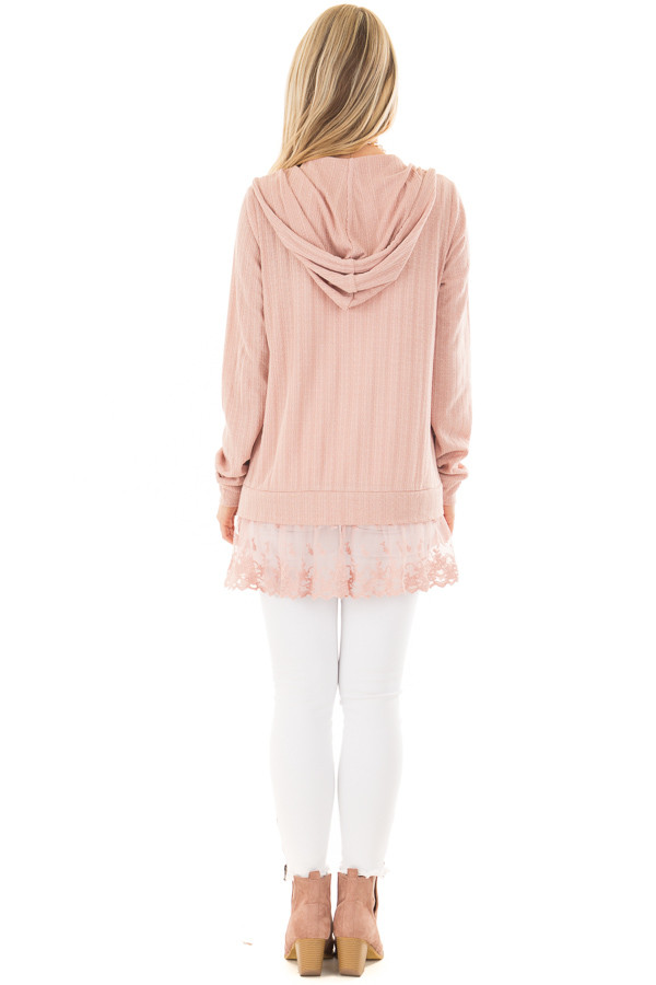 Dusty Blush Zip Up Hoodie with Lace Hemline back full body