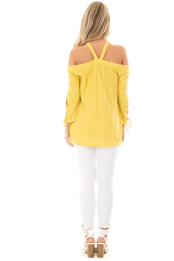 Sunflower Bare Shoulder Top with Lace up Sleeves back full body