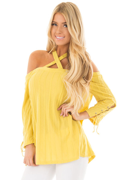 Sunflower Bare Shoulder Top with Lace up Sleeves front close up