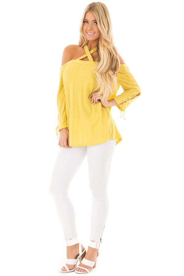 Sunflower Bare Shoulder Top with Lace up Sleeves front full body