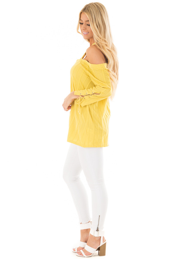 Sunflower Bare Shoulder Top with Lace up Sleeves side full body