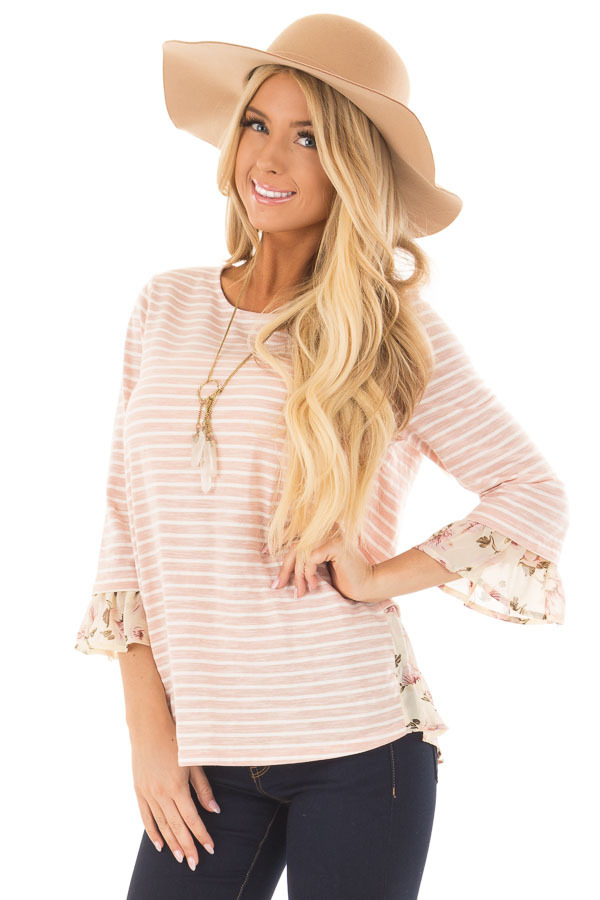 Blush Striped Lace Up Back Top with Chiffon Floral Contrast front closeup