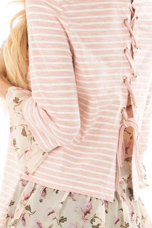 Blush Striped Lace Up Back Top with Chiffon Floral Contrast detail